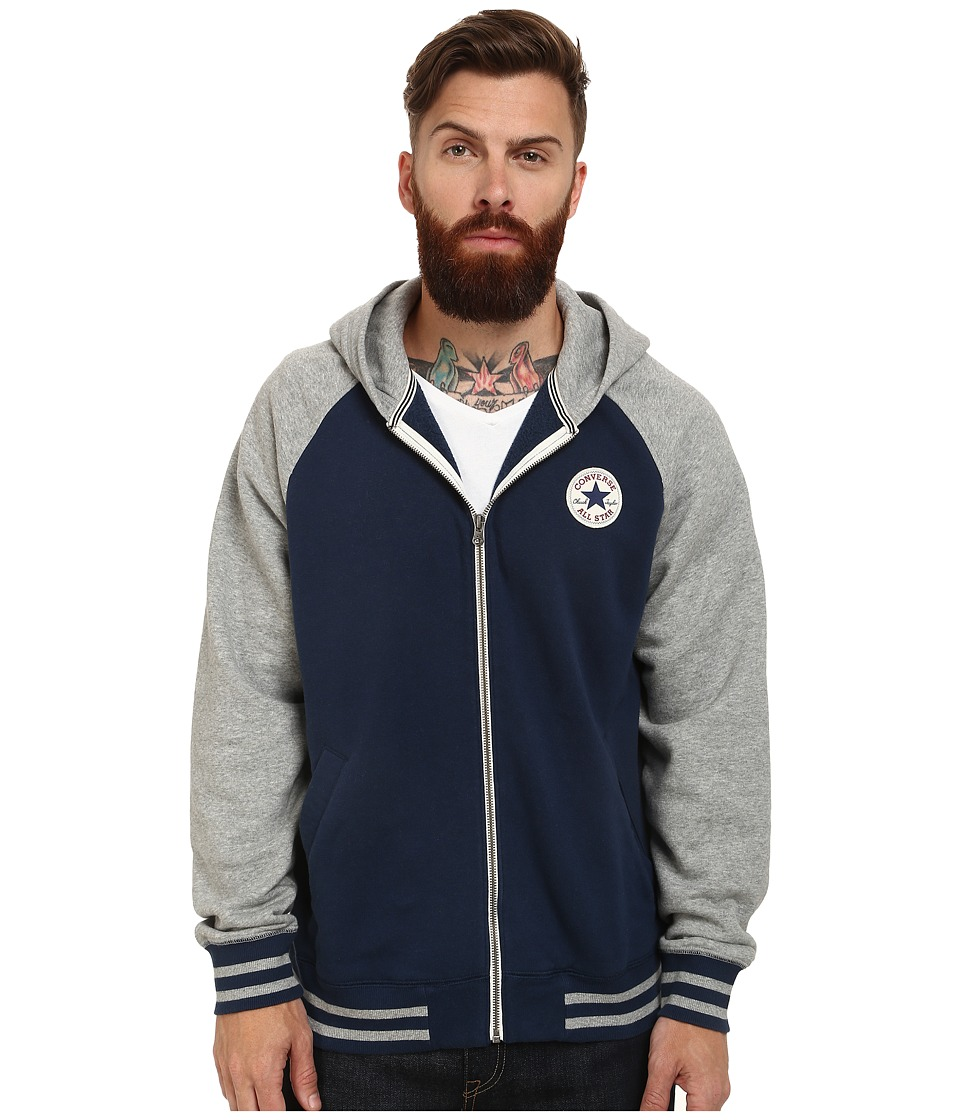Converse - Patch Hooded Baseball Jacket (Navy) Men's Sweater