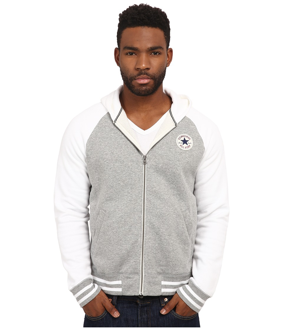 Converse - Patch Hooded Baseball Jacket (Gray Heather) Men's Sweater