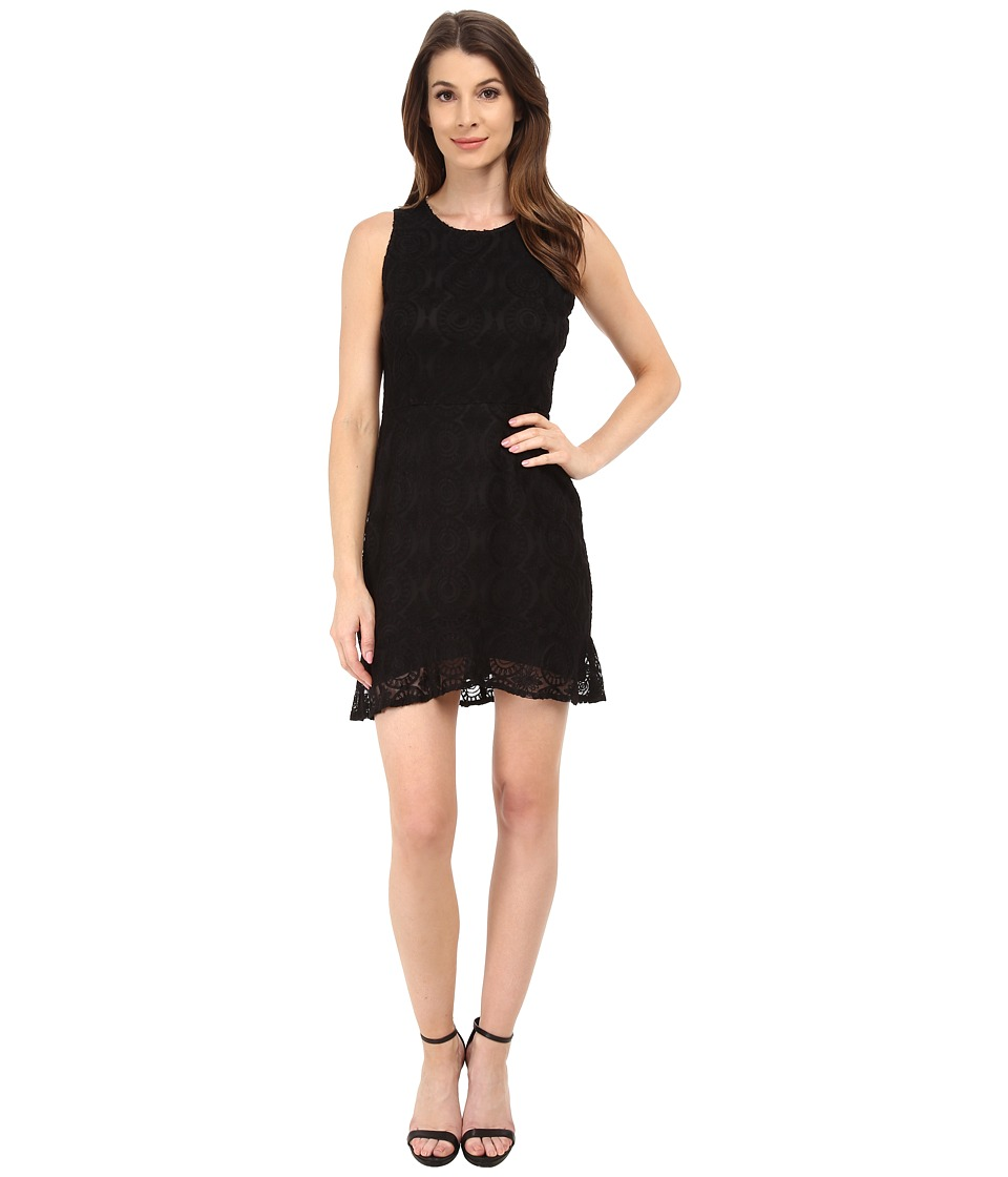 BB Dakota - Elene Ruffle Hem Lace Dress (Black) Women's Dress