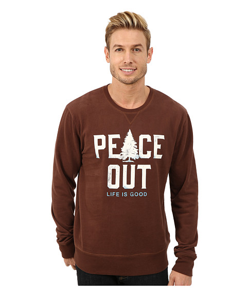 Life is good - Go-To Crew Neck Shirt (Chestnut Brown) Men's Long Sleeve Pullover
