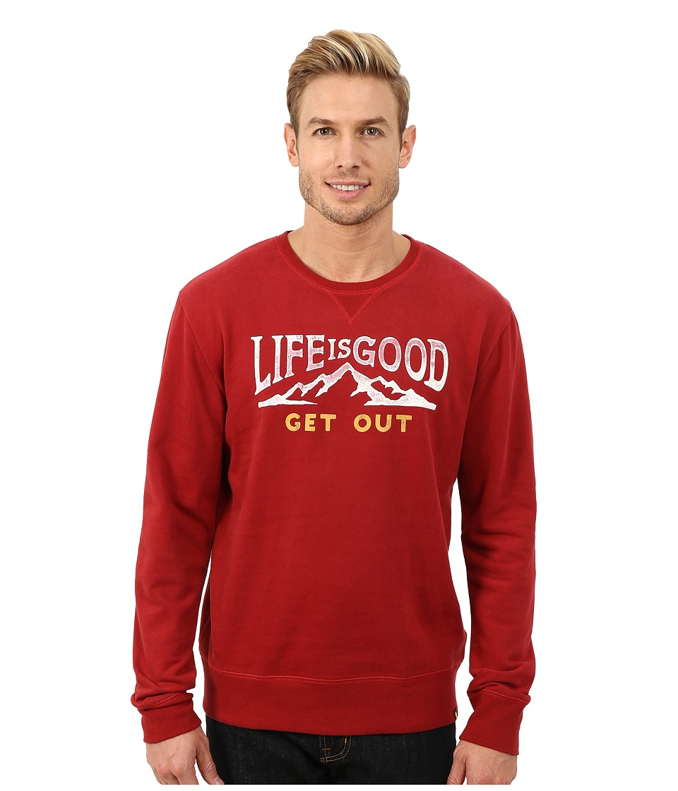 Life is good - Go-To Crew Neck Shirt (Rich Red) Men's Long Sleeve Pullover
