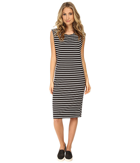 MINKPINK - Stripe Chief Value Of Cotton Midi Dress (Black/White) Women
