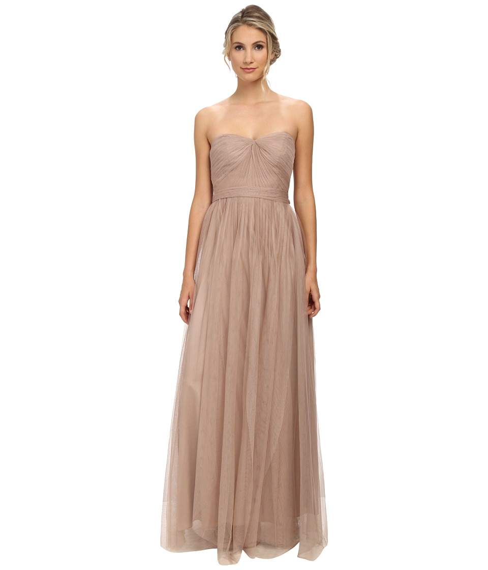 Adrianna Papell - Strapless Tulle Convertible Gown (Latte) Women's Dress