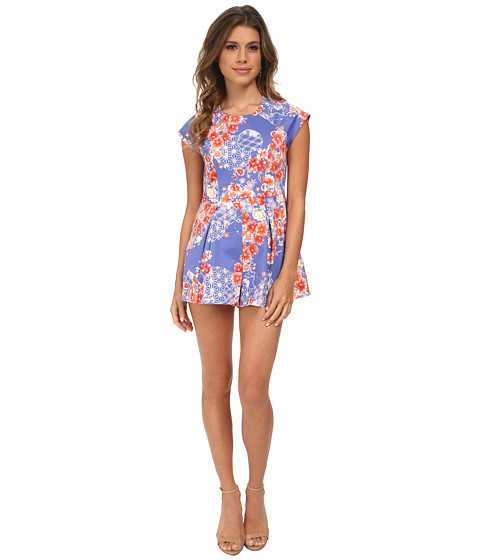 MINKPINK - Orange Bento Blooms Playsuit (Multi) Women's Jumpsuit & Rompers One Piece