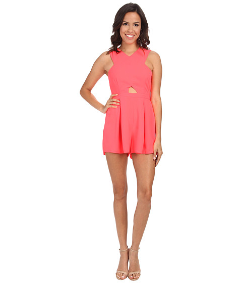 MINKPINK - Hugs N Kisses Playsuit (Neon Coral) Women's Jumpsuit & Rompers One Piece