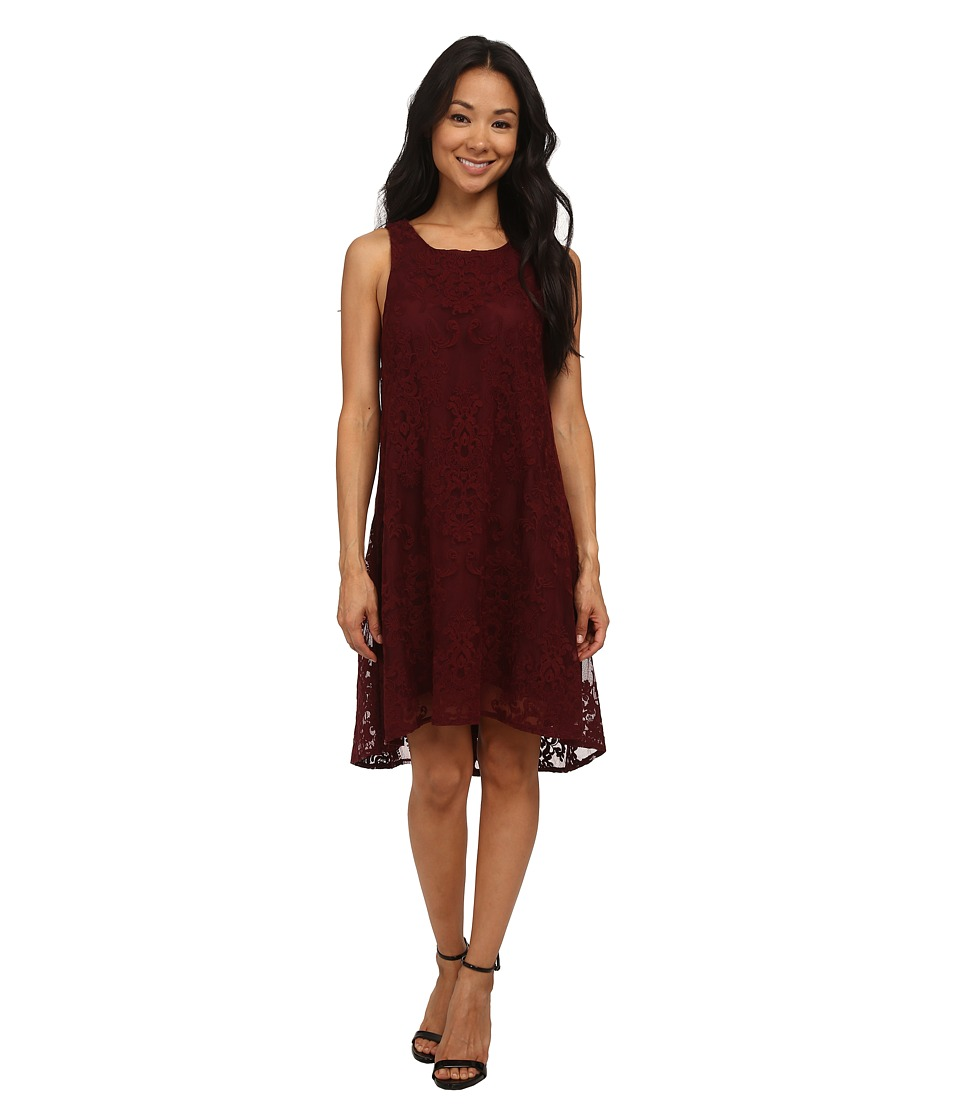 BB Dakota - Cadence Embroidered Lace Dress (Wine) Women's Dress