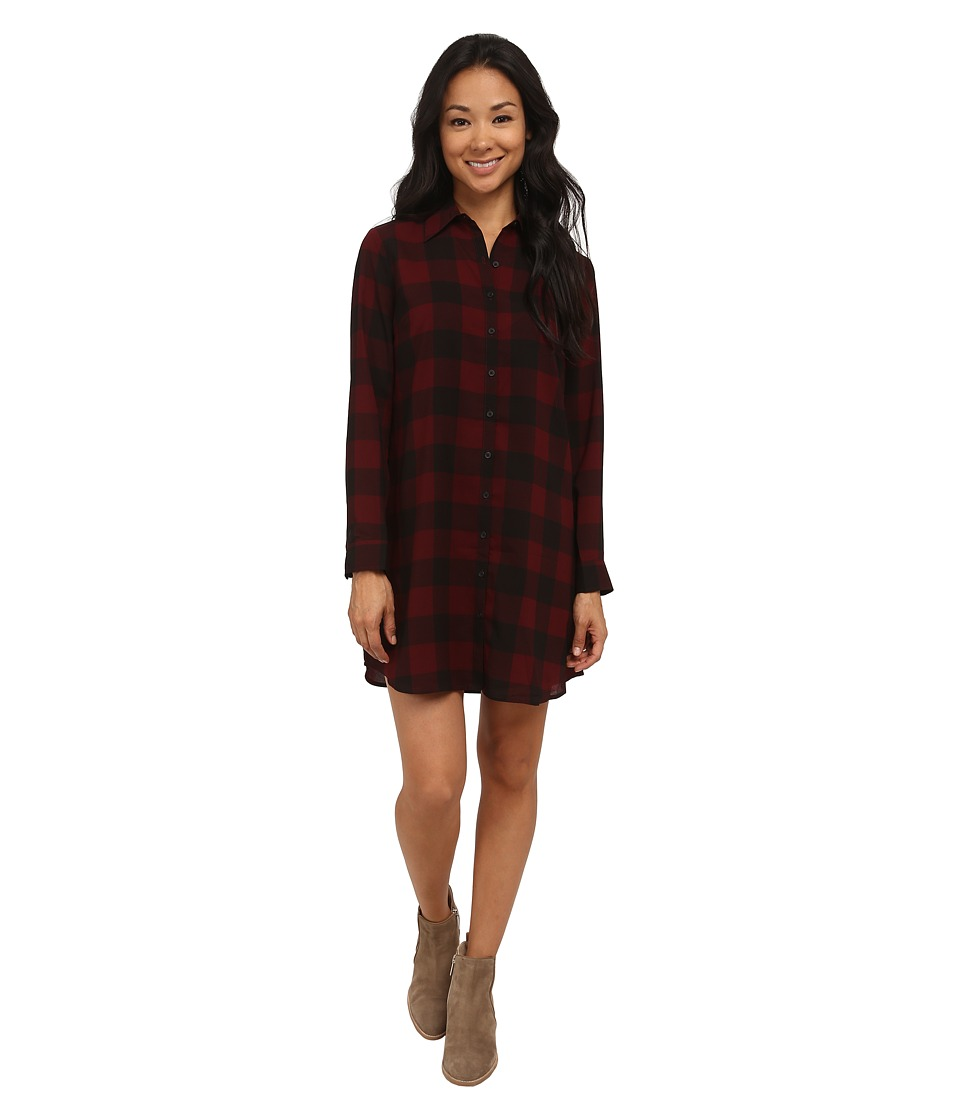 BB Dakota - Cotter Buffalo Plaid Dress (Wine) Women