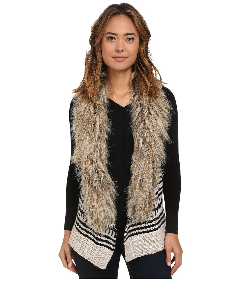 BB Dakota - Jase Pattern Sweater Vest with Faux Fur (Ivory) Women