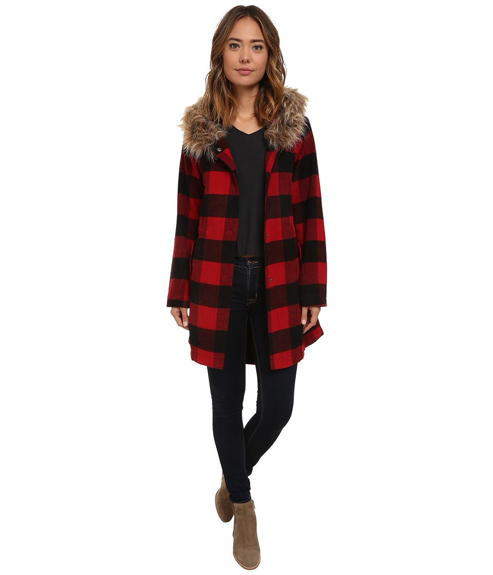 BB Dakota - Jaslene Buffalo Plaid Coat with Faux Fur Trim (Red) Women's Coat