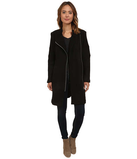 BB Dakota - Grayson Boiled Wool Coat with Sleeve Detail (Black) Women