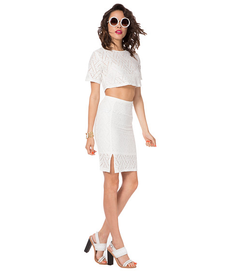 MINKPINK - Hop Scotch Midi Skirt (Off White) Women