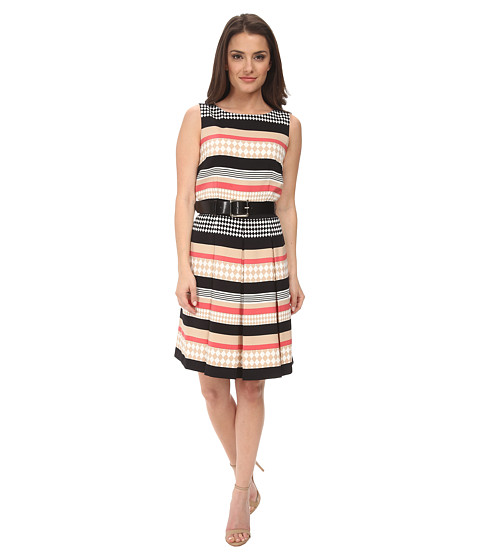 Tahari by ASL Petite - Petite Printed Twill Fit and Flare (Khaki Beige/Coral) Women's Dress