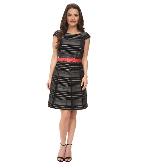 Tahari by ASL Petite - Petite Stripe Fit and Flare with Grosgrain Belt (Black/White) Women's Dress
