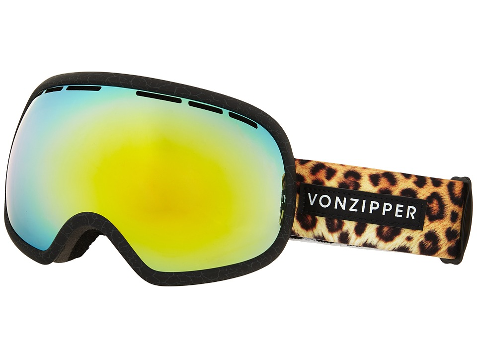 VonZipper - Fishbowl (Soft Touch Crackle Black Satin/Gold Chrome) Snow Goggles