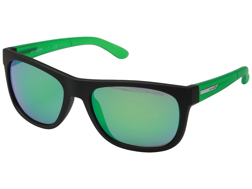 Arnette - Firedrill Lite (Fuzzy Black/Lime/Green Mirror) Fashion Sunglasses