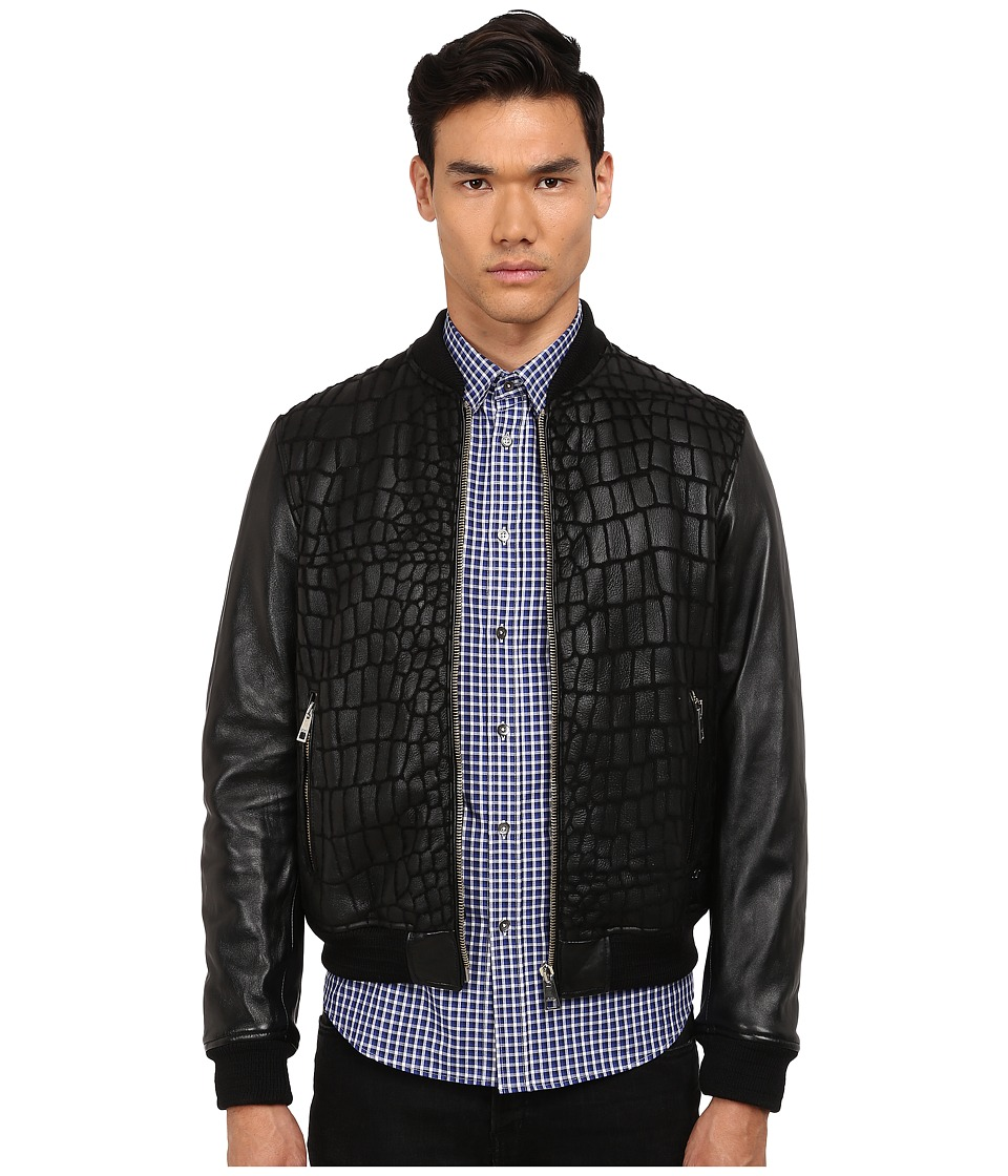 Just Cavalli - Reptile Texture Shearling (Black) Men's Coat