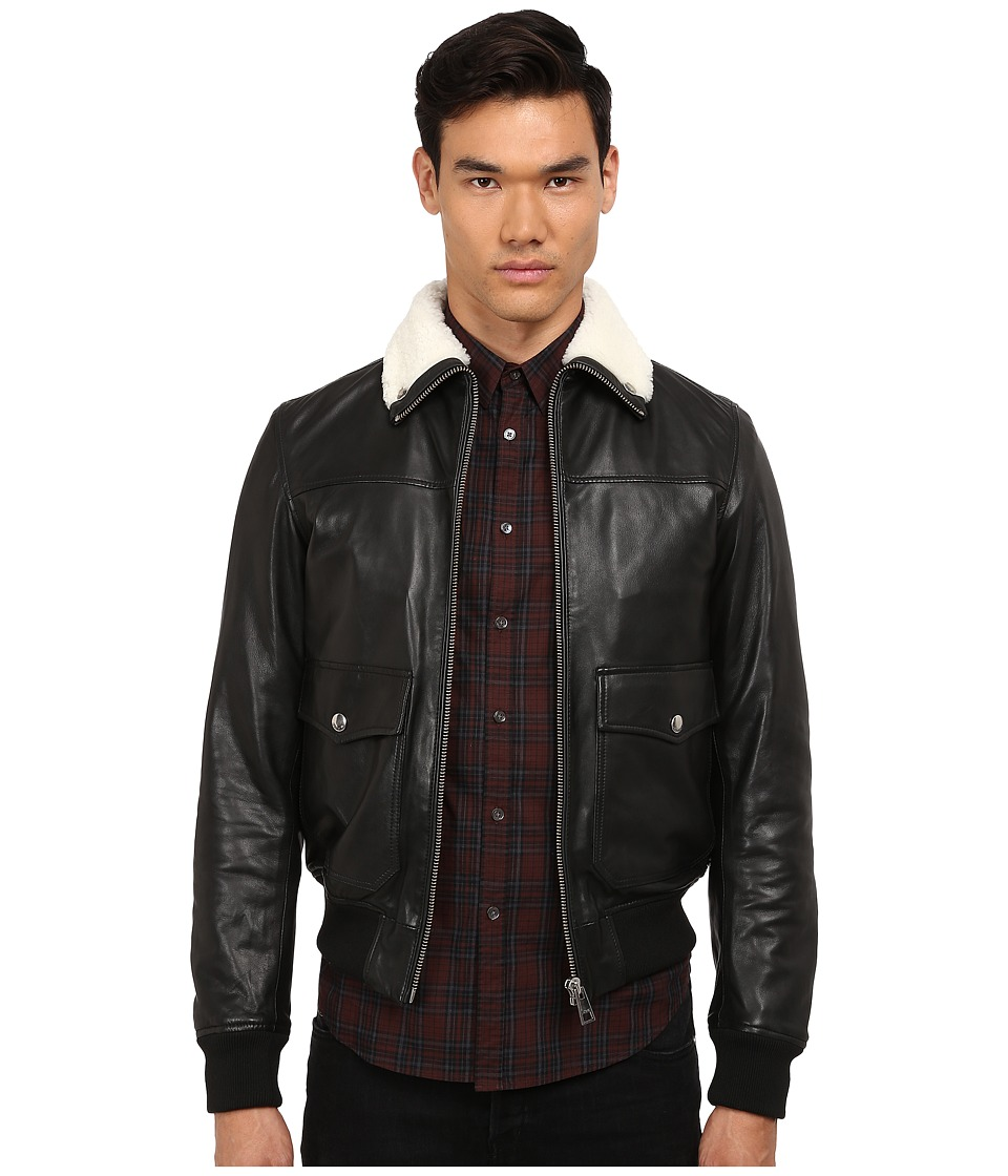 Just Cavalli - Leather Bomber w/ Shearling Collar (Black) Men's Coat
