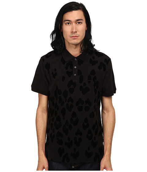 Just Cavalli - Short Sleeve Pique Polo w/ Flocked Leopard (Black) Men's Short Sleeve Pullover