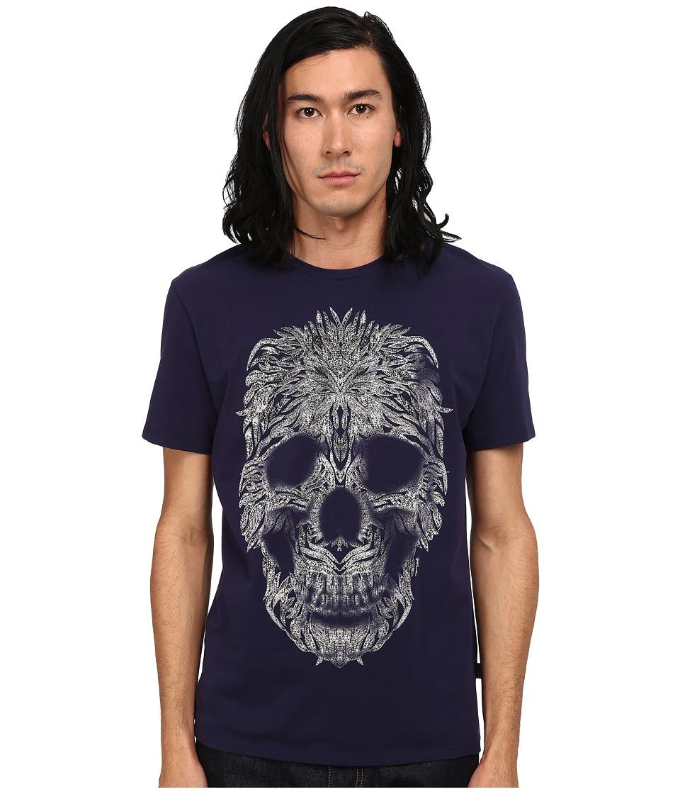 Just Cavalli Short Sleeve Feather Skull Graphic Super Slim Tee (Blue Ink) Men