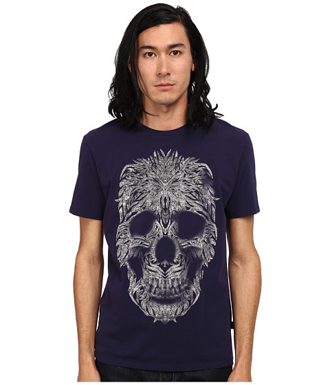 Just Cavalli - Short Sleeve Feather Skull Graphic Super Slim Tee (Blue Ink) Men's T Shirt