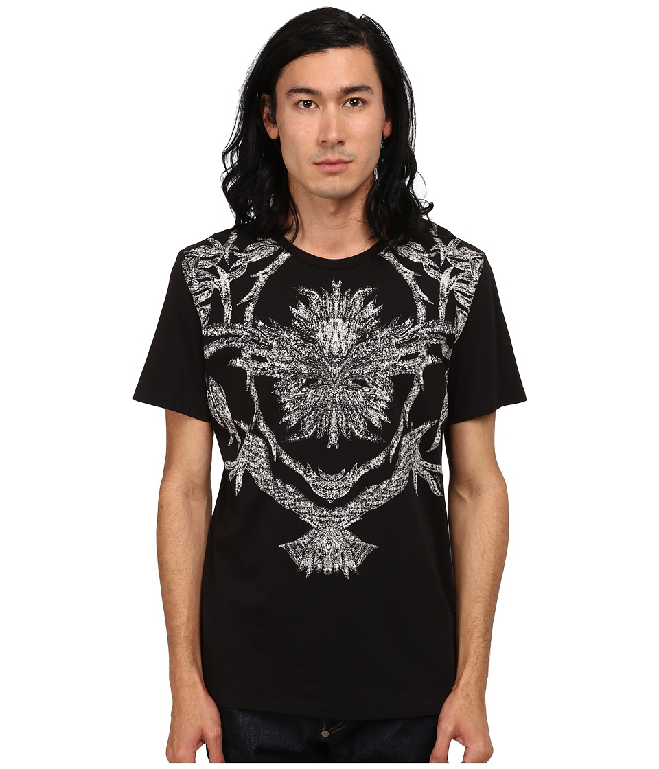Just Cavalli Short Sleeve Feather/Flame Graphic Slim Fit Tee (Black) Men