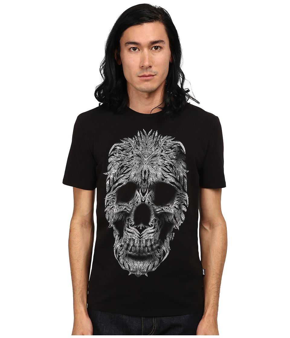 Just Cavalli - Short Sleeve Feather Skull Graphic Super Slim Tee (Black) Men's T Shirt