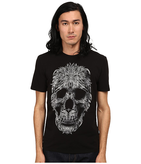 Just Cavalli - Short Sleeve Feather Skull Graphic Super Slim Tee (Black) Men's T Shirt