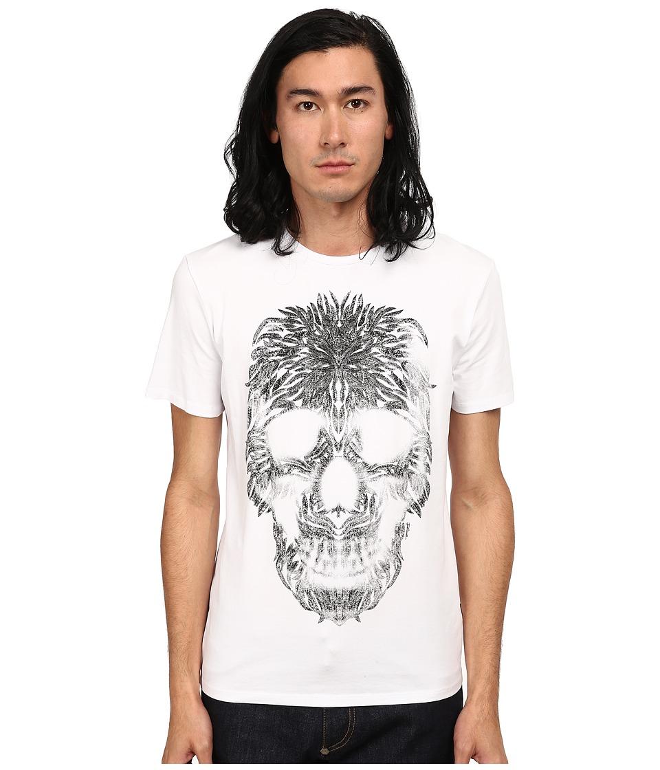 Just Cavalli - Short Sleeve Feather Skull Graphic Super Slim Tee (White) Men's T Shirt