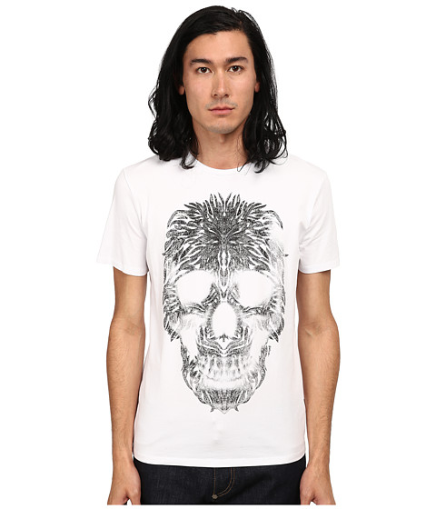 Just Cavalli - Short Sleeve Feather Skull Graphic Super Slim Tee (White) Men's T Shirt