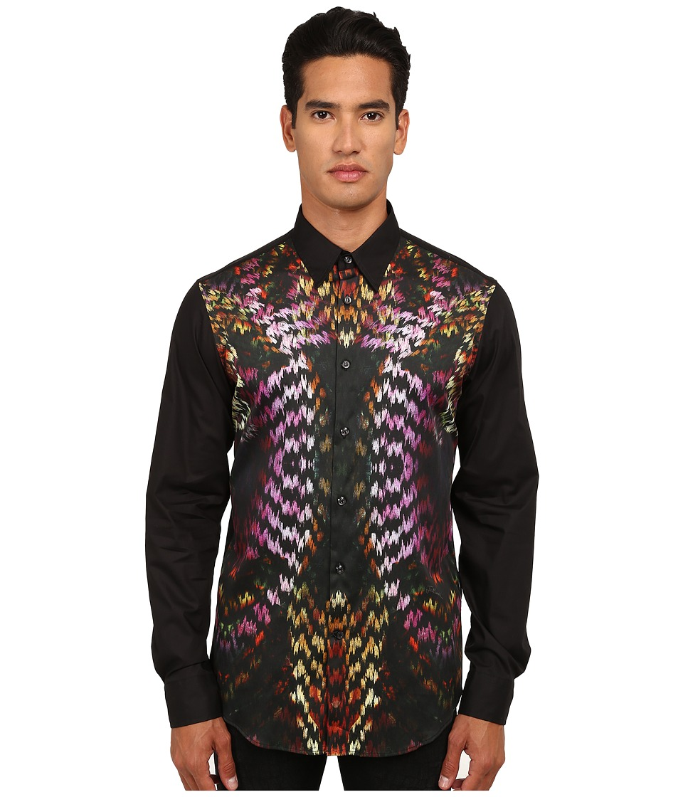 Just Cavalli - Flaming Groovies Printed Woven Shirt (Black Variant) Men's Long Sleeve Button Up