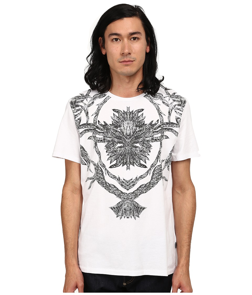 Just Cavalli Short Sleeve Feather/Flame Graphic Slim Fit Tee (White) Men