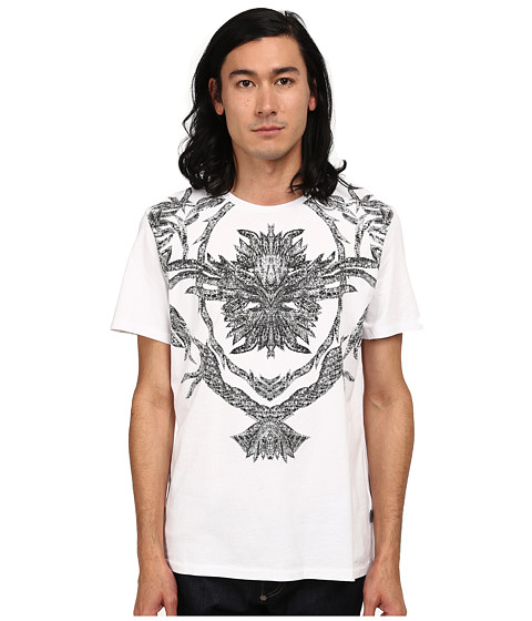 Just Cavalli - Short Sleeve Feather/Flame Graphic Slim Fit Tee (White) Men