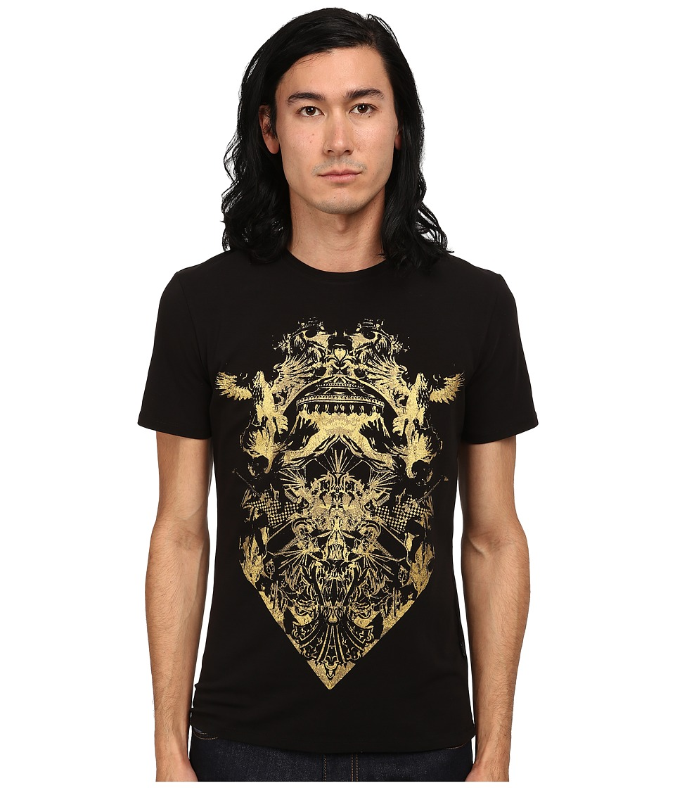 Just Cavalli - Short Sleeve Gold Graphic Super Slim Fit Tee (Black) Men's T Shirt