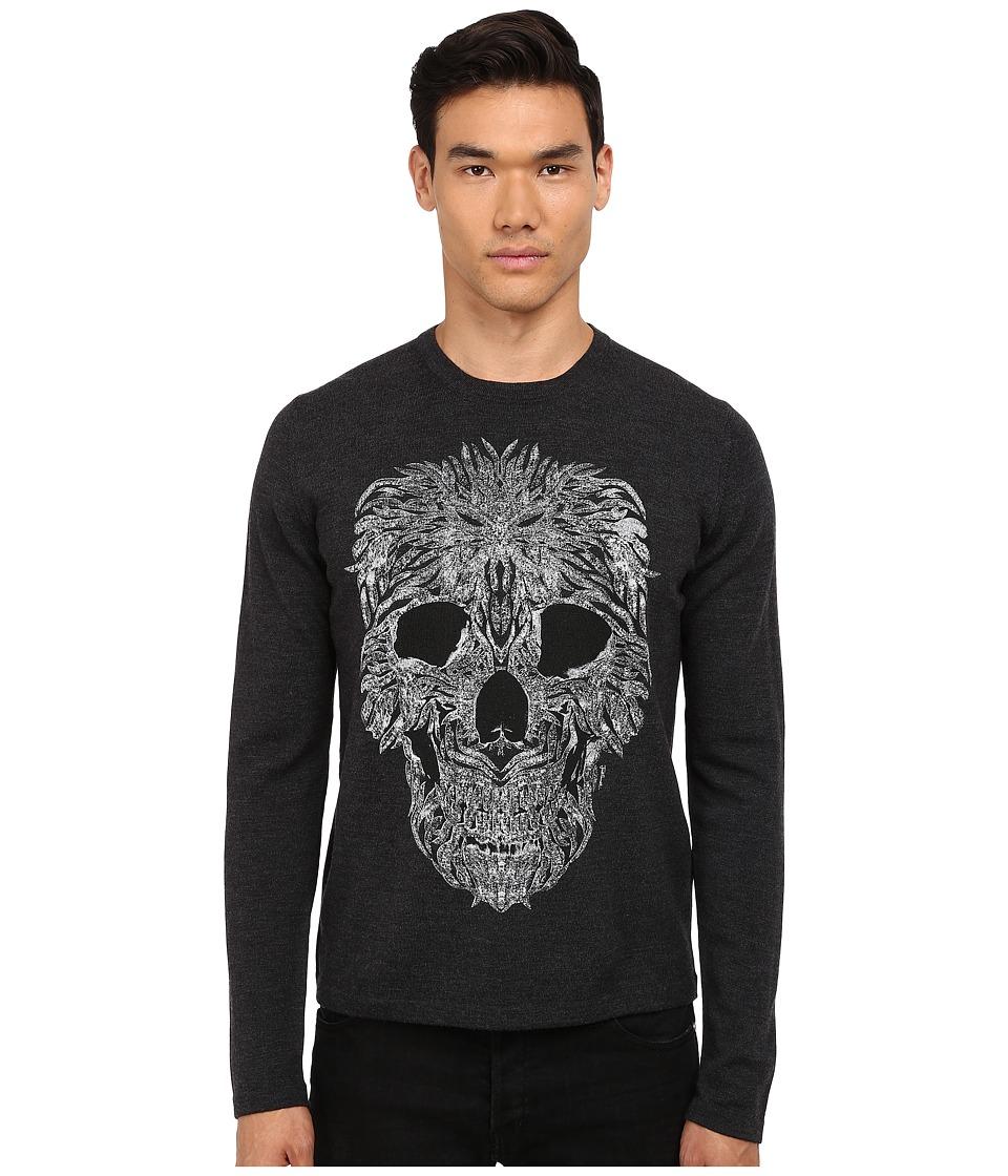 Just Cavalli - Long Sleeve Crew Neck Skull Design Sweater (Grey Melange) Men