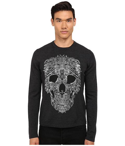 Just Cavalli - Long Sleeve Crew Neck Skull Design Sweater (Grey Melange) Men
