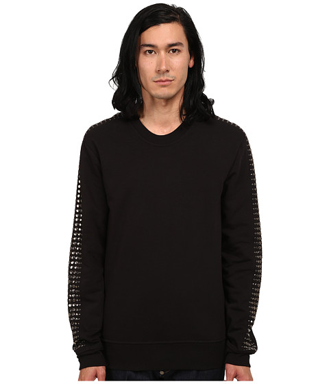 Just Cavalli - Long Sleeve Studded Sleeve Sweatshirt (Black) Men