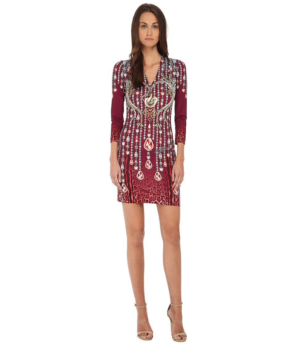 Just Cavalli - Bodycon Printed Knit Dress (Red Variant) Women's Dress