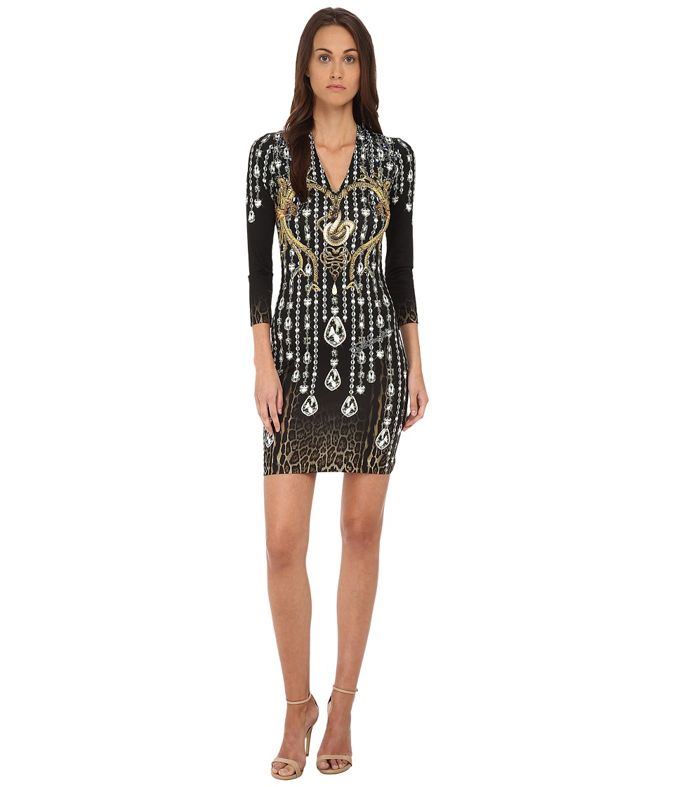 Just Cavalli - Bodycon Printed Knit Dress (Black Variant) Women's Dress