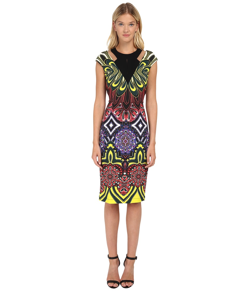 Just Cavalli - Fitted Printed Dress w/ Cutouts (Multicolor Variant) Women's Dress