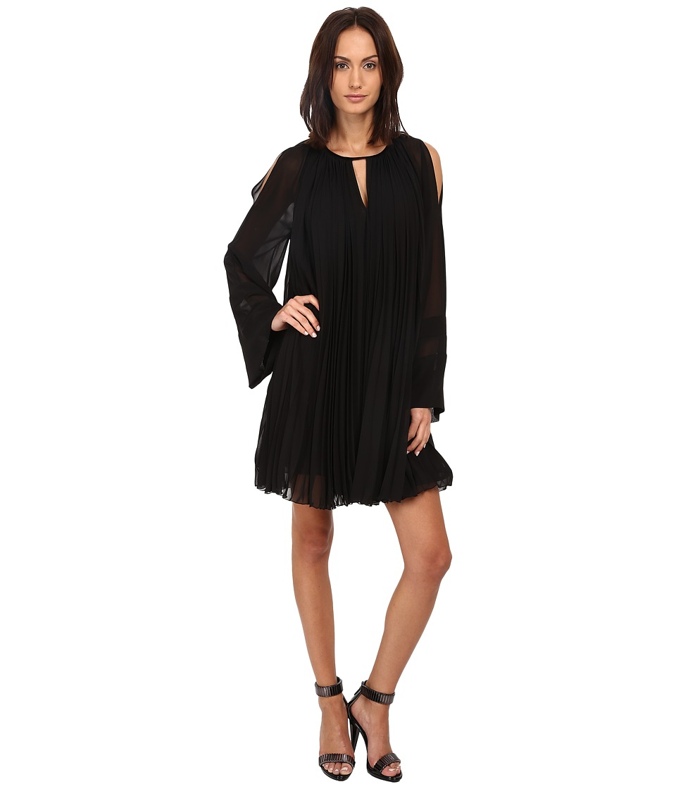 Just Cavalli - Pleated Long Sleeve Flared Dress (Black) Women's Dress