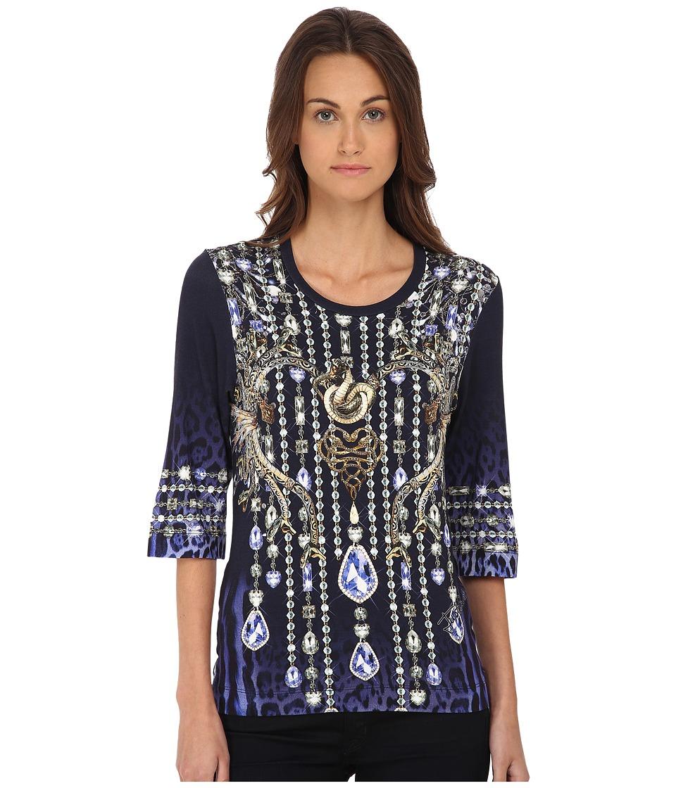 Just Cavalli - Leo Crystal Print Tee (Blue Variant) Women's T Shirt