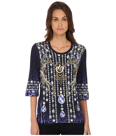 Just Cavalli - Leo Crystal Print Tee (Blue Variant) Women