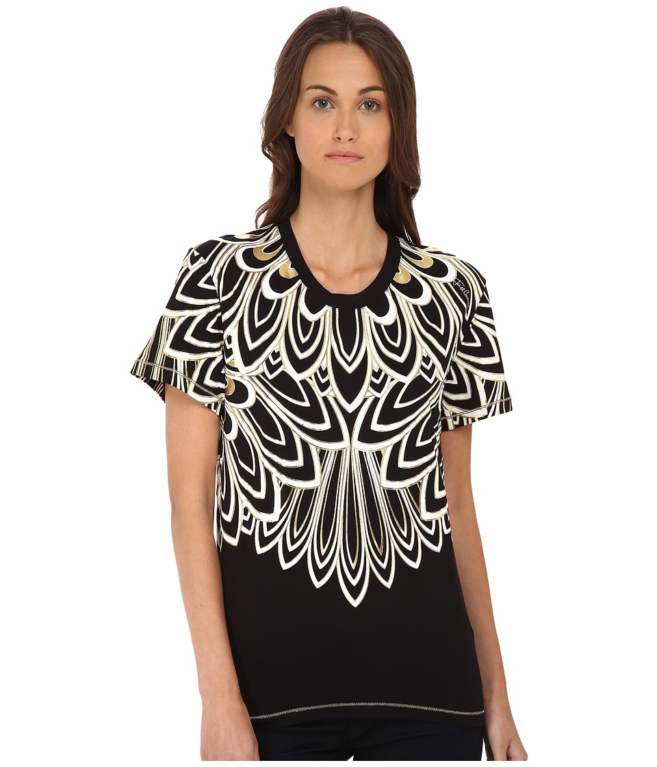 Just Cavalli - Metallic Feather Short Sleeve Crew (Black) Women's T Shirt