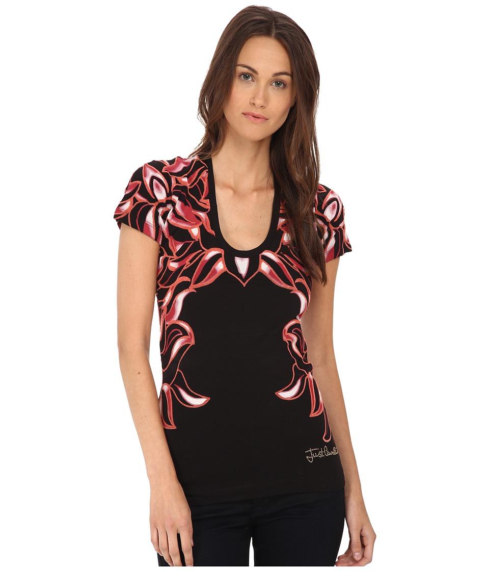 Just Cavalli - Frida Floral Short Sleeve Tee (Black) Women