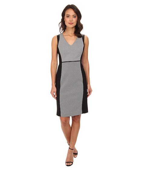 Jones New York - V-Neck Sheath Dress (Black/White) Women's Dress