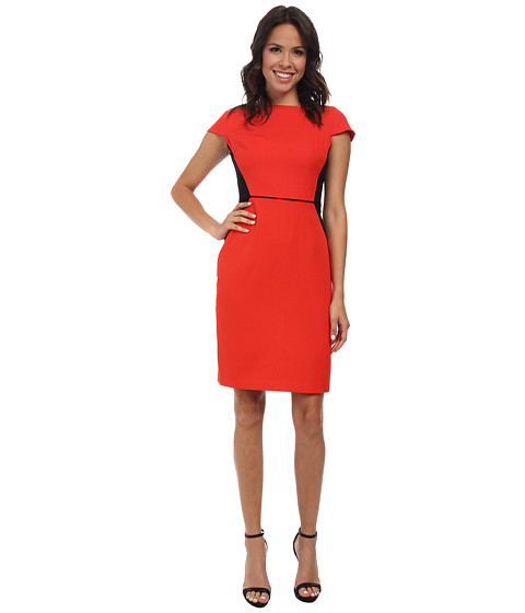 Jones New York - Color Block Boat Neck Sheath Dress (Red Coral) Women