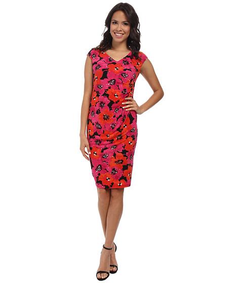Jones New York - Extended Shoulder V-Neck Dress (Black Multi) Women's Dress