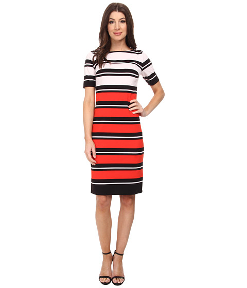 Jones New York - Elbow Sleeve Boat Neck Dress (Red Coral Combo) Women's Dress