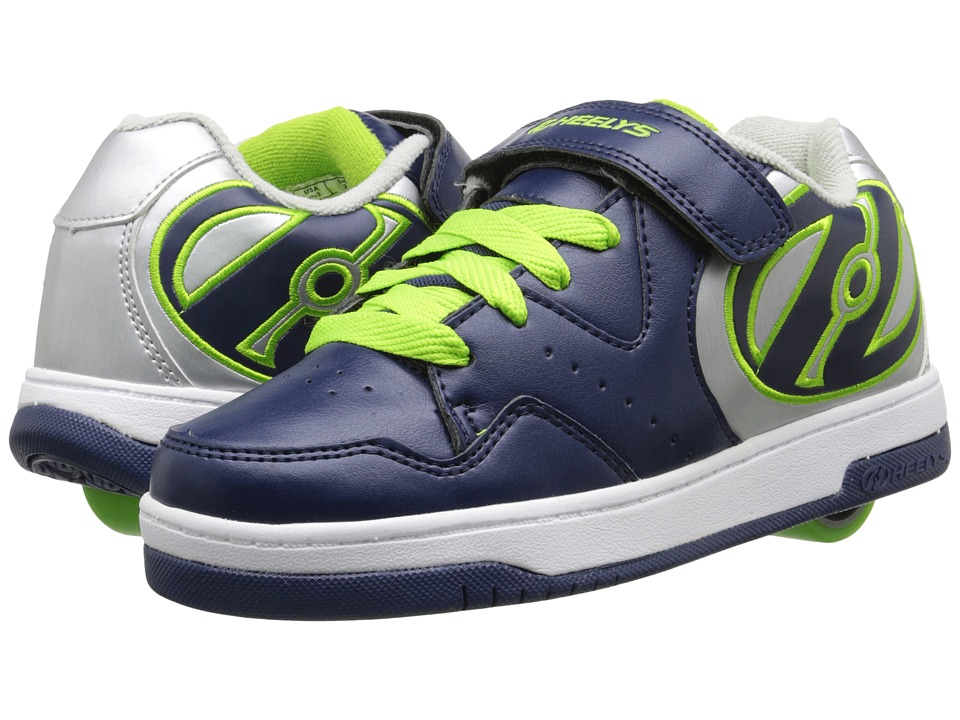 Heelys - Hyper (Little Kid/Big Kid/Adult) (Navy/Silver/Lime) Boys Shoes