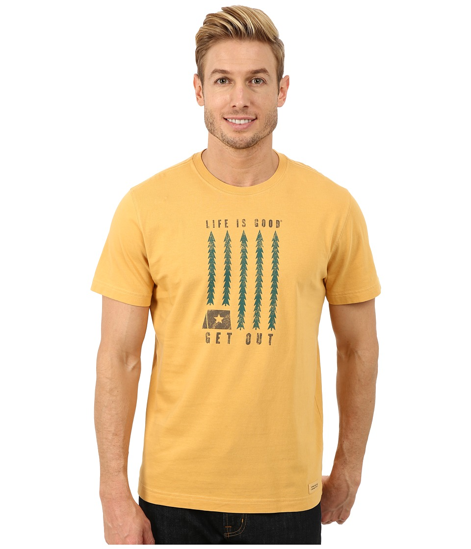 Life is good - Crusher Tee (Antique Gold/Get Out Trees) Men's T Shirt
